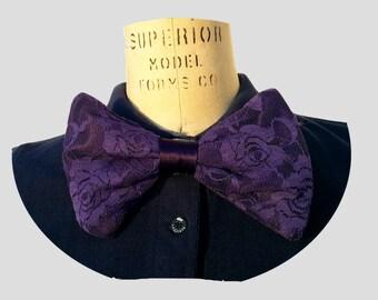 Purple Lace Oversized Handmade Bow Tie