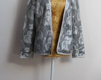 Silver and black vintage evening jacket, size 14, 1980s