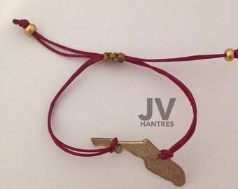 Garnet and Gold Florida (state) Dainty Cording with adjustable clasp / noles /one size fits all / qty 1
