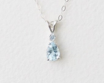USA Santa Maria Aquamarine Genuine Natural Pear Pendant Necklace with Accent set in Sterling Silver, Sterling Chain Available
