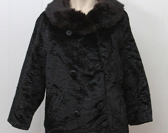 60s Vintage shearling coat, fur coat, vintage Wiggle coat,  Shearling with fox Fur Trimmed Evening Coat, Cropped evening Coat, Size M