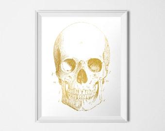 Gold Skull Print, Medical Printable, Human Anatomy Printable, Gold Print, INSTANT DOWNLOAD, 16x20 Poster, Medical Illustration Skeleton