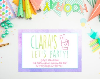 DIGITAL I'm 2 Let's Party Birthday Invitation, Summer Birthday Party, Digital Printable Watercolor Pool Party Invitation, Second Birthday
