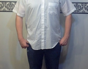 1960's Pristine White HIpster Button Up Shirt by Oakton LTD, Size 16 Large, Vintage Rockabilly Short Sleeved Men's Shirt, Greaser, Mad Men