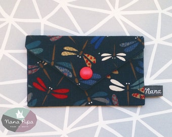 Purse / Business card holder / Credit card holder: dark blue cotton fabric with dragonflies