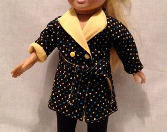 "18"" Doll Jacket; Black Polka Dot Jacket for the Maplelea and American girl"