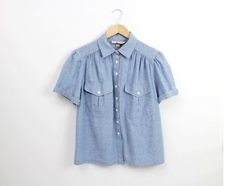 chambray shirt / button up chambray top / short sleeved denim shirt