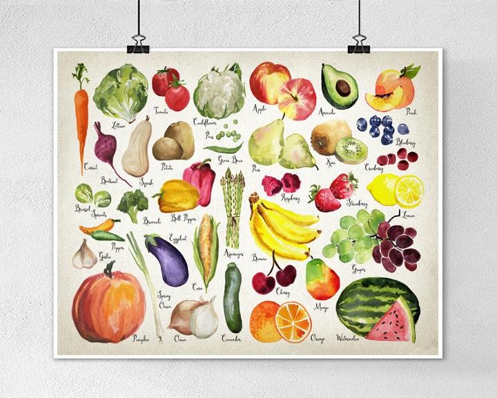 Kitchen Wall Decor Vegetables : Watercolor fruit and vegetables wall art print kitchen