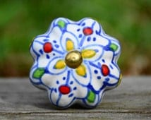 Beautiful multi-color hand painted floral melon ceramic knob/decorative furniture hardware/drawer pull/unique
