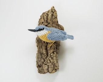 Nuthatch on bark - fibre art wall sculpture
