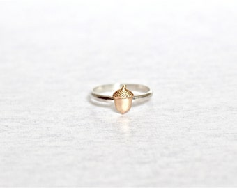 Acorn Ring.  Sterling Silver Ring with Brass Acorn.  SImple everyday ring.