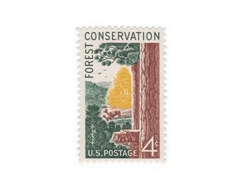 10 Vintage Unused Postage Stamps - 1958 4c Forest Conservation - Item No. 1122 - Vintage Postage Shop
