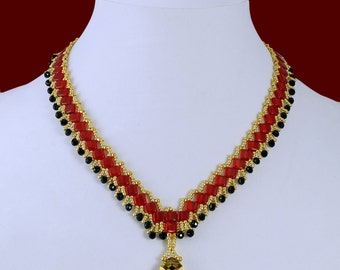 Red, Gold & Onyx Pendant Necklace