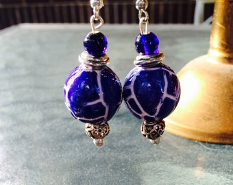 Silver and Royal Blue Ceramic China-Style Earrings