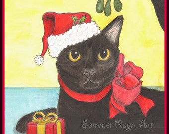 A Beautiful Black Holiday cat, in a Santa hat, Winter or Christmas Card or Print -  Watercolor, Item #0424a