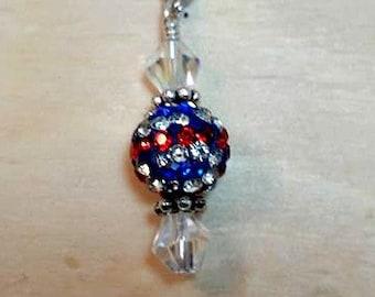 red white and blue swarovski necklace-patriotic necklace-usa necklace-flag necklace-red white and blue jewelry-patriotic jewelry