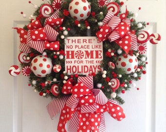 Peppermint Xmas Wreath / Christmas Peppermint Wreath / Red and White Door Decor / Peppermint Wreath / Xmas Polka Dots - Stripes Decoration