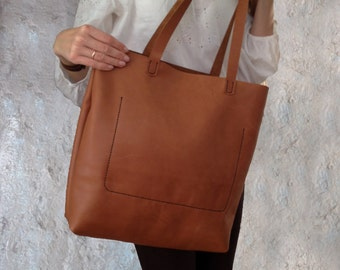Large brown leather tote bag Women leather bag hand stitched Shoulder leather bag for women Personalize leather bag Fall leather bag for her