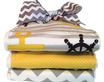 Anchors in Yellow - Nautical Theme Baby Burp Cloth Set