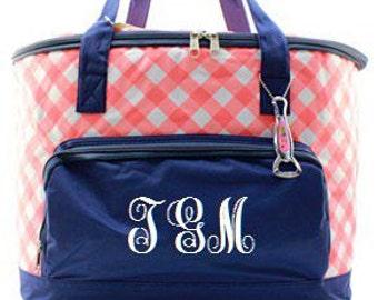 Monogrammed Cooler  Coral Plaid Monogrammed Cooler Bag  Personalized Tailgating Cooler