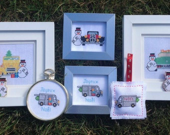 Christmas Citroen Cars - Pictures and ornaments PDF Cross stitch pattern