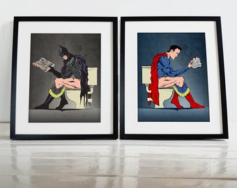 Wall Art Prints and superhero on the toilet poster wall art prints