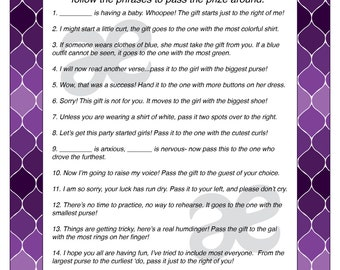 Sly image pertaining to baby shower pass the prize rhyme printable