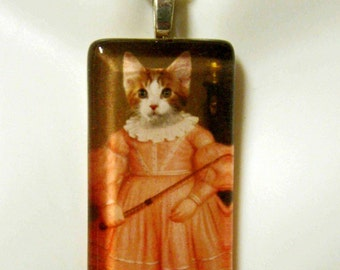 Victorian kitty pendant and chain - CGP02-141 - cat pendant