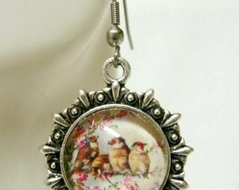 Birds in a cherry tree earrings - BAP03-014