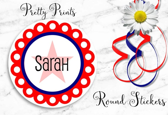 Personalized Stickers - Red - White - Blue - Star - Dots - Round Labels - Personalized Labels - Monogrammed Stickers - School Labels