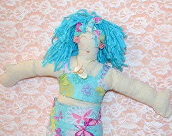 Blue Hair Cloth Doll
