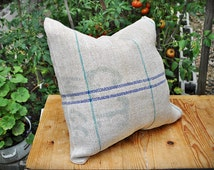 Vintage Authentic Grain Sack Pillow Cover / Handwoven hemp and cotton / Blue and Green Stripes/ Farmer tag