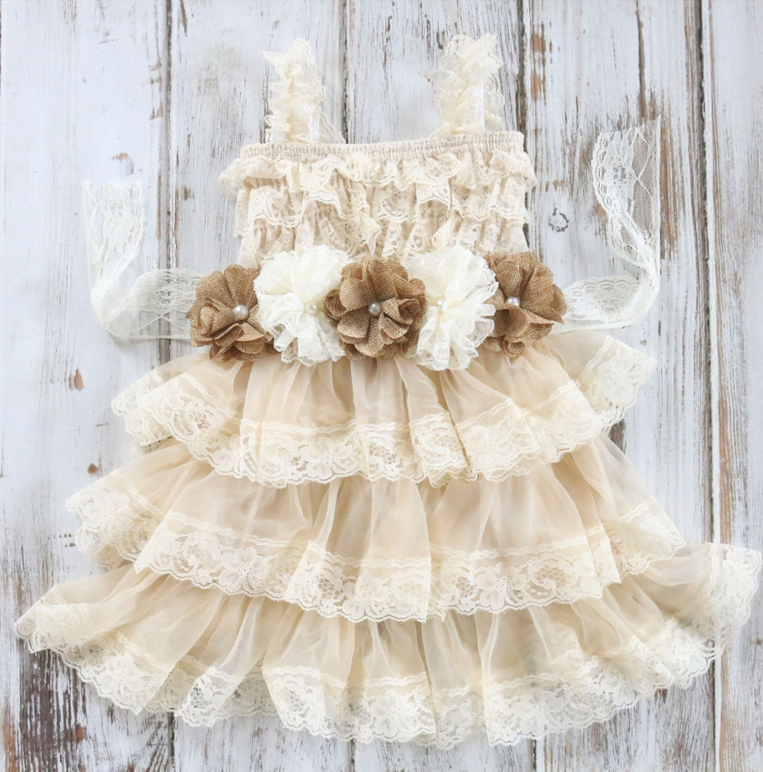 Rustic Burlap Flower Girl Dress Country Chic by