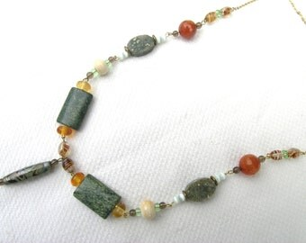 Stunning unique semi-precious stone + vintage bead upcycled necklace hand made glass bead orbicular jasper snakeskin jasper smoky quartz