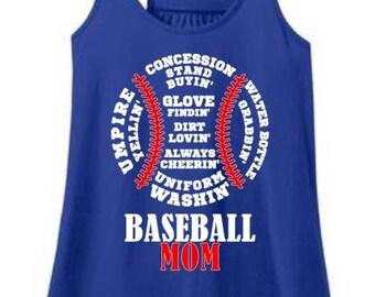 Baseball MOM • Women's Flowy Tank • Baseball Tee