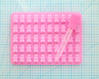 50 Gummy Bears Silicone Mold for Resin, Food, Polymer Clay, Gelatin, & More