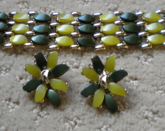 """1950s, """"Claudette"""" Bracelet/Earrings Set, Fine Costume Jewelry, Thermoset, Lime Green Thermoset,Forest Green Thermoset"""
