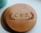 Personalized Wood Coaster, Rustic Deer Antler, Established Date, Husband Gift,  Father Gift, Wedding, Anniversary, Birthday, Christmas Gift