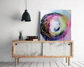 RESERVED** Colorful abstract art, large original abstract painting, square shaped art, bright colors gold wall art textured painting