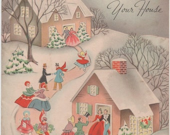 Used c1950s Christmas Card, From Our House to Your House, good shape