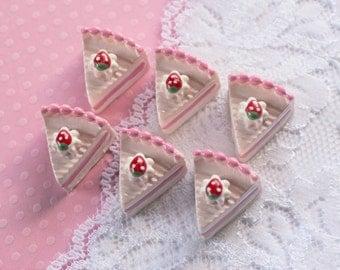 6 Pcs 3D Strawberry Pink Layer Cake Cabochons - 20x16mm