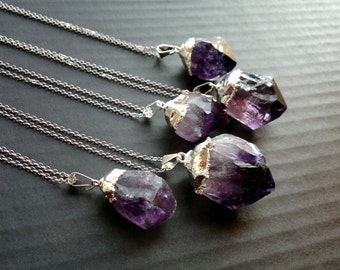 Amethyst Necklace Amethyst Pendant Silver Dipped Crystal Rough Amethyst Raw Mineral Jewelry Purple Crystal Necklace Amethyst Jewelry