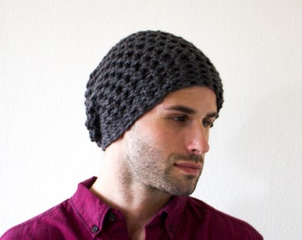 Dark Gray Slouchy Crocheted Hat