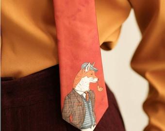 FineArt Collection orange Mr. Fox/Yellow bird tie/hair band/scarf