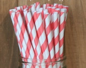 Coral Paper Straws, Coral Striped Paper Straws, Wedding, Baby Shower, Cake Pop Sticks, Coral Straws, Made in USA, Party Supplies, Beverage