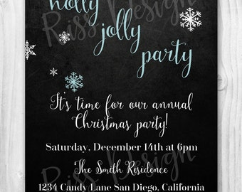 Christmas Party Invitation / Holly Jolly Party Invitation / Customizable & Printable / Blue, Green or you tell me what color!