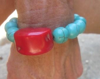 boho bracelet red coral & turquoise bracelet bohemian jewelry caribbean bracelet colorful  junk gypsies bracelet stretch  bracelet