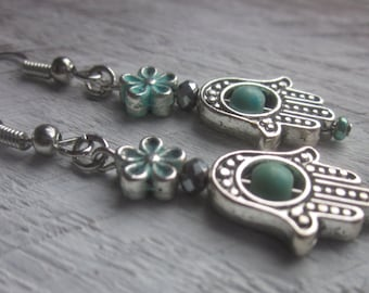 blue/green turquoise magnesite stone silver pewter daisy flower beads bohemian country chic hamsa hand religious dangle drop earrings