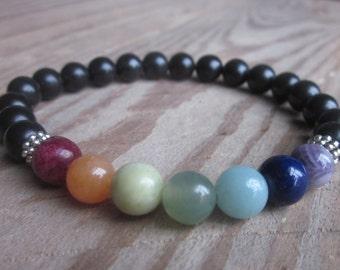 7 chakra black stone beads meditation yoga healing unisex stretch bracelet amazonite jasper jade aventurine agate amethyst, river stone