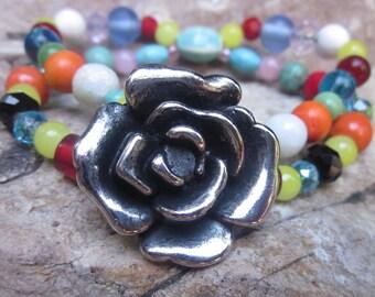 stretch bracelets colorful double strand bracelet bohemian boho junk gypsy flower colorful stone glass & wood stackable  stretch bracelet